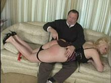 Over the Knee With a Bare Red Ass Being Flogged