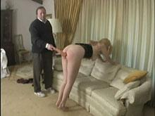 Bare Red Ass Being Spanked With Wooden Ruler